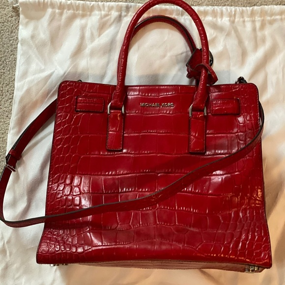 Michael Kors Dillon Red Croc Embossed Leather Tote